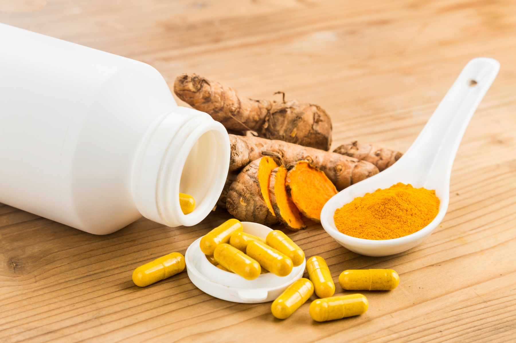 Homemade turmeric capsule from freshly grounded turmeric roots